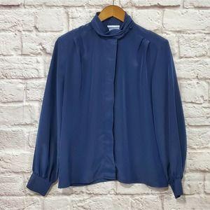 Pendleton Vintage Royal Blue Mock Neck Button Top